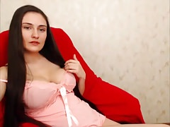 Super Sexy Long Haired Hairplay, Striptease and Masturbating