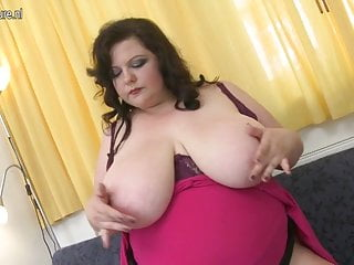 Chubby mature slut with huge tits playing alone