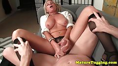 Busty milf stroking cock