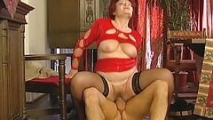 Nasty Big Tits Czech Granny Stockings Fucks Young Guy