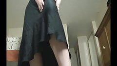 Brunette milf in black dress JOI