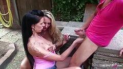 German Hooker Texas Patti und Bi Jenny in Outdoor Threesome