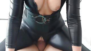 Blonde Slut In Black Latex Spandex Catsuit Fucked