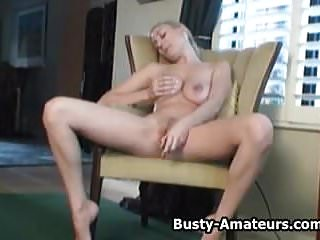Busty amateur Autumn playing her pussy with dildo
