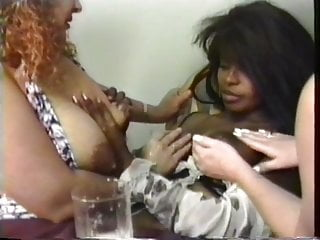 Preview 4 of Gorgeous big tit lactating lesbians squeeze out lots of milk from their nips