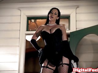 Glamorous lingerie babe doggystyled at party