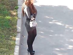 Girl in short skirt spying