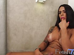 Rosy Pinhero teases before sucking a big fat cock POV