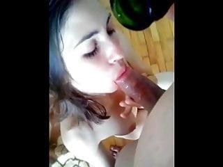 Gorgeous girlfriend loves champagne blowjob & bottle fuck