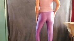 CD slut models tight spandex leggings.