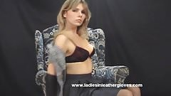 Sexy blonde Milf enjoys wearing leather gloves with her whip