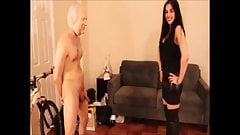 Very hot cruel mistress ballbusting and destroys slave