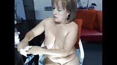 Mature big boobs....dildo in her ass