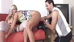 Lingerie loving tranny banged by a couple