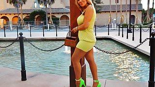 Sofia streetwalking in neon heels