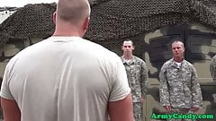 Military orgy hunk facialized during training