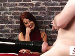 Redhead british voyeur teases humiliated sub's Thumb