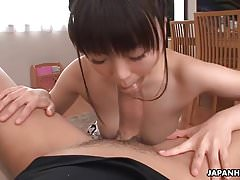 Asian slut sucking a dick and then takes his load in her mou