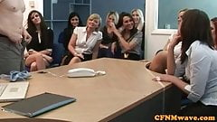 CFNM femdom office babes demand to see cock