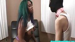 Gemini Lovell masturbation tease on a leash