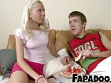 Slim Blonde Watermelon Eating Foreplay!