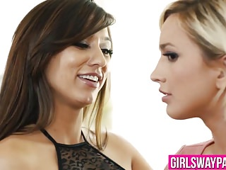 Brunette Reena Sky teaches blonde Eliza Jane lesbian sex