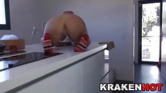 Submissive blonde wife is spanked in the kitchen