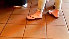 Candid Feet in Flip Flops at Starbucks 2019