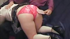 Spanking and fucking schoolgirl in red satin panties