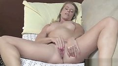 Small Titted Blonde Fingering her Pussy to Orgasm