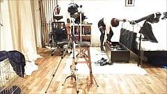Rubberpet harness gag Armbinder
