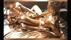 Golden slim twinks barebacking with gold cumming