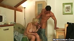 Come here you old bitch and suck my cock dry!