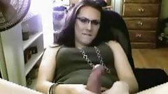 Cute Brunette Wanks Her Cock On Cam BVR