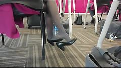 Candid Flight Attendant Shoeplay Feet Nylons Pantyhose 2