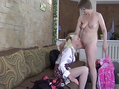 Mature lesbian and young blonde