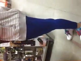 Home Depot Latina Ass in Blue tights