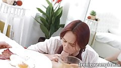 Breakfast and blowjob in bed from a hot redhead girlfriend