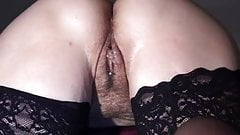Doggy style with cum-dripping pussy