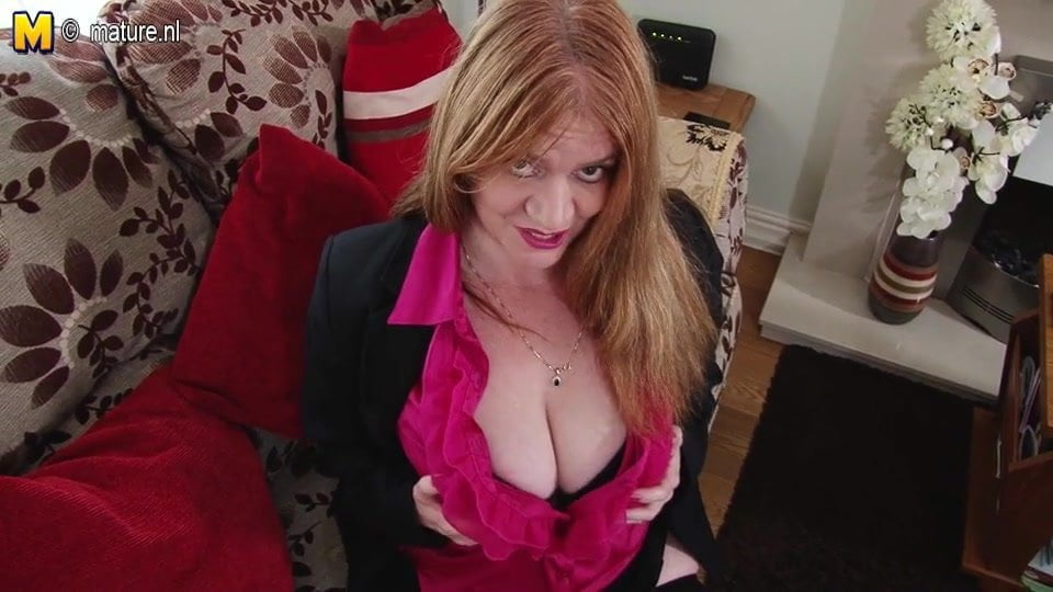 Big breasted British MOM with shaved pussy