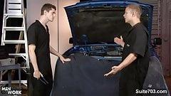 Gay mechanics fucking in the garage