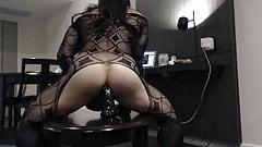 Samantha crossdresser plays with Black toy and cum