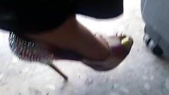 Girlfriend feet at airport