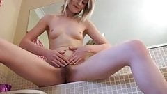 Mary Lou's hairy body in the bathroom