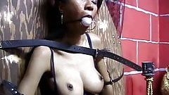 Hot looking big tit asian bound, gagged and teased by her master