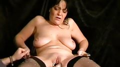 Mature slave with hot saggy tits