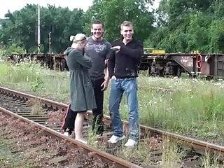 Clip dare sex - Daring public railway threesome. awesome