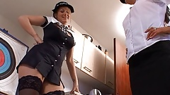 Two Female Police Officers playing a Strip Game