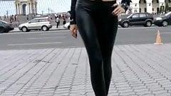 Super sexy girl in short skirt & leggings