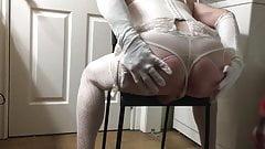 BBC Sissy slut ass tease in white lingerie